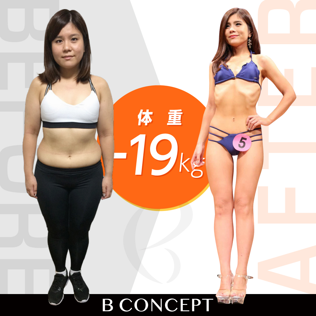 Before/After画像。19キロ減。