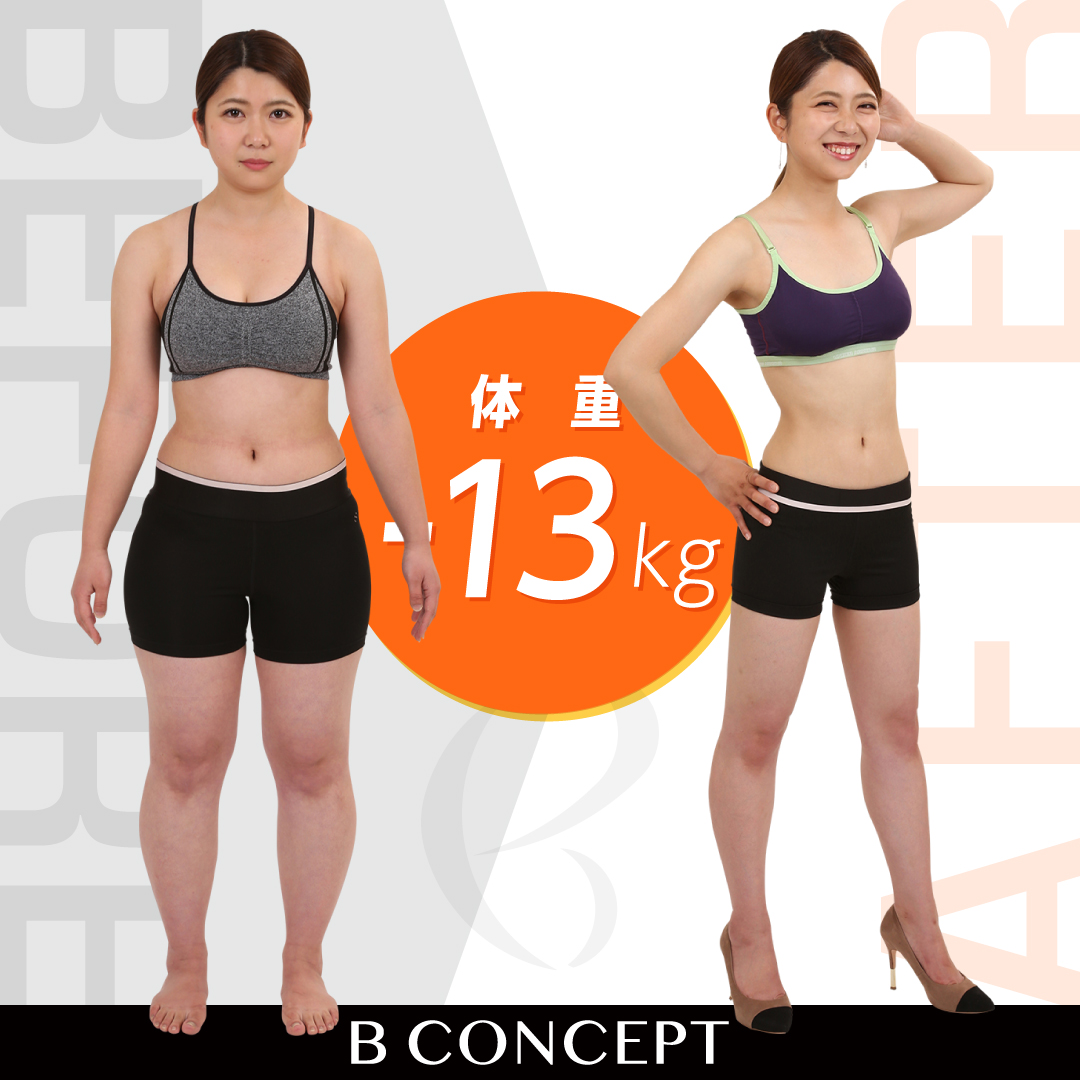 Before/After画像。13キロ減。